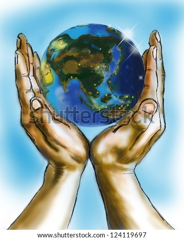 illustration hand earth Series
