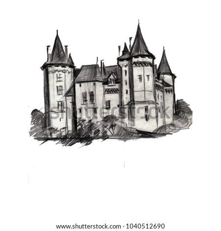 illustration hand pencil drawing landscape architecture nature