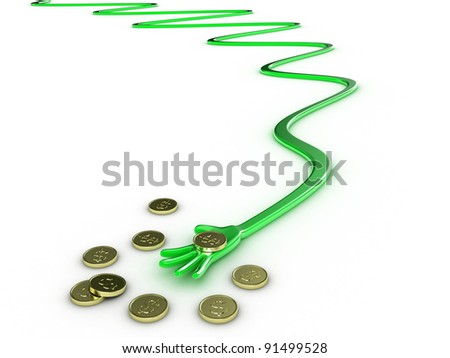 Illustration hand with money on a white background
