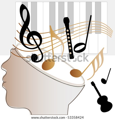 illustration: head with symbol: musical notes, keyboard, guitar, flute