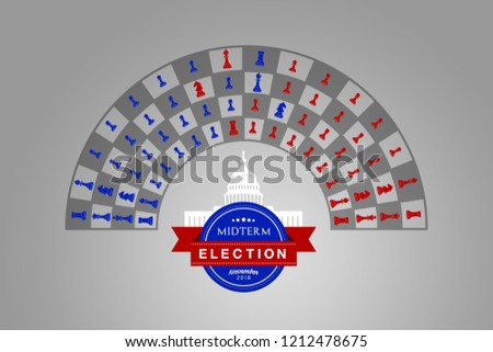 Illustration idea for the November 2018 US Midterm Election chess game.
