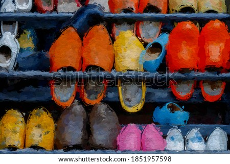 Illustration image of colourful old wooden shoes on the rack converted to oil painting picture style, Watercolour painting of multi coloured hand made classic vintage wooden shoes background. ストックフォト ©