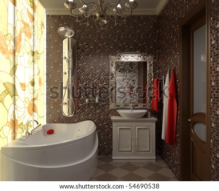 illustration interior beautiful bathroom with a toilet and shower