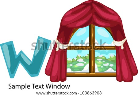 illustration isolated ALPHABET LETTER W-Window