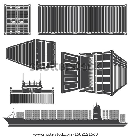 Illustration isolated silhouettes Set of cargo containers. Loading containers on boat, ship, container ship. Container ship drawing.