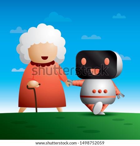 Illustration Jpeg file. Robot is holding happy elder hand. Elder care robot.