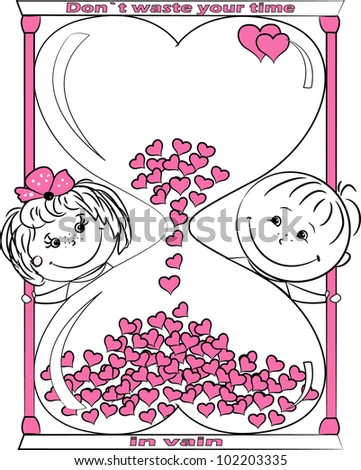 illustration love man and woman look out for the hourglass