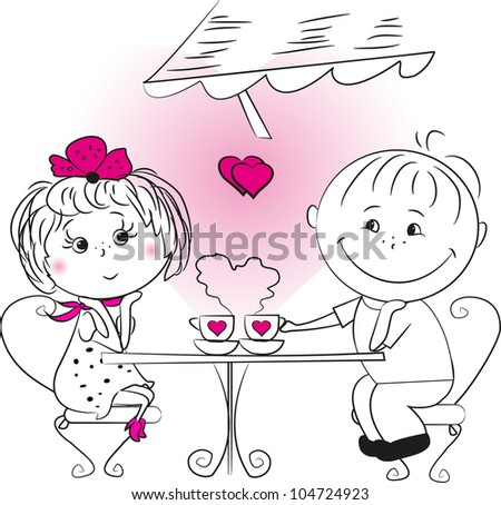 illustration, love the man and woman sitting in a cafe