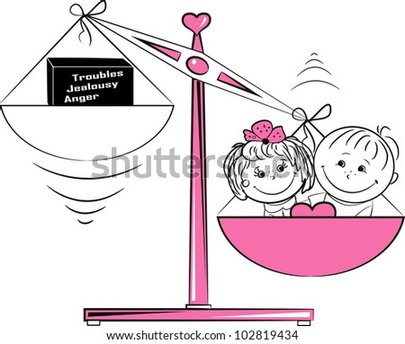 illustration, loving man and a woman sitting on the scales