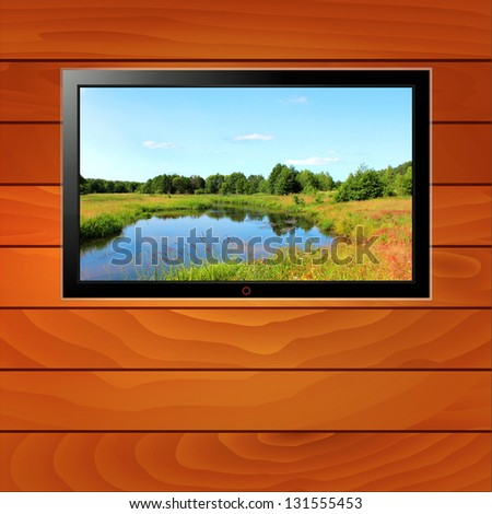 illustration modern LCD monitor on wood background with landscape in the screen