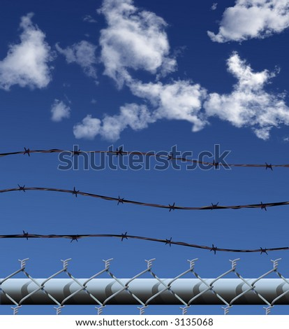 Illustration (NOT A PHOTO) of the top of a a chainlink fence topped by three strands of barbed wire, against a skyscape.
