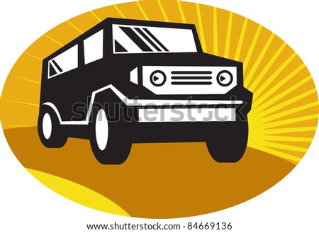 illustration of a a car sports utility vehicle suv on the road set inside oval with sunburst in background.