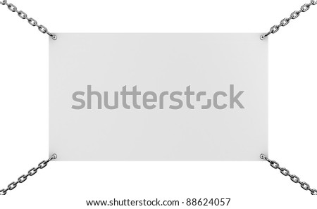 Illustration of a announcement board, hangs on chains