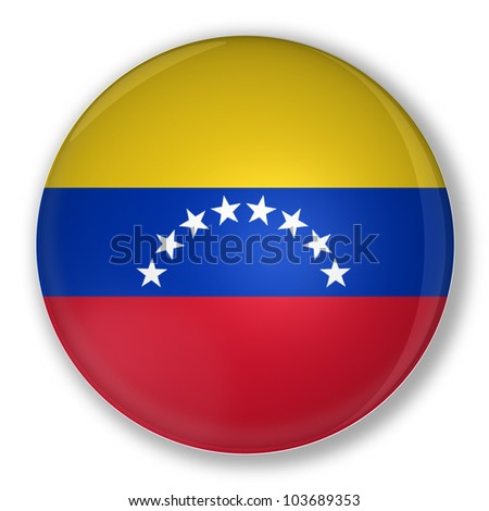 Illustration of a badge flag of Venezuela with shadow