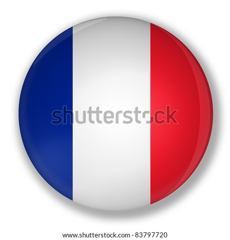 Illustration of a badge with flag of france with shadow