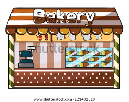 illustration of a bakery on a white background