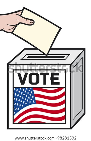 illustration of a ballot box with the flag of the united states of america. (hand putting a voting ballot in a slot of box). - stock photo