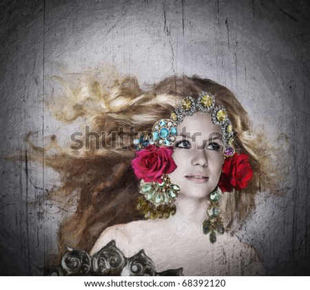 illustration of a beautiful woman with long blowing hair and ornate jewelry crown with roses on grunge oil painting texture