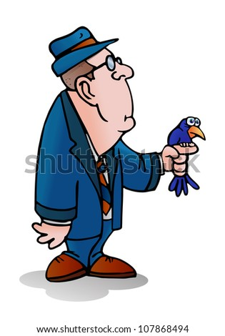 illustration of a bird lovers hold his birds on isolated background