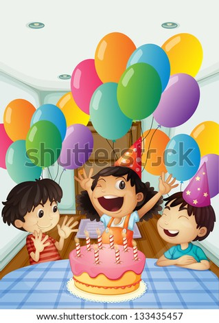 Illustration of a birthday celebration with balloons and cake