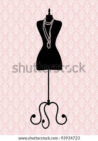 Illustration of a black tailor's mannequin. See my portfolio for more fashion themed images..