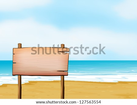Illustration of a blank signpost on a beach.