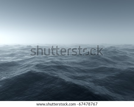 Illustration of a bleak and cold stormy seascape