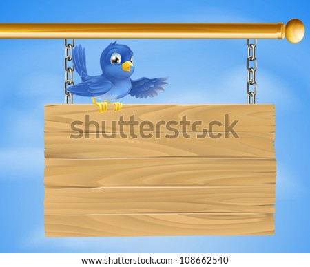 Illustration of a blue bird standing on a on wooden sign