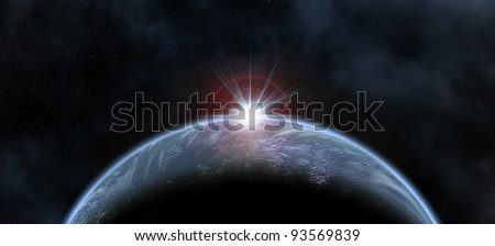 illustration of a blue planet and a sun in behind