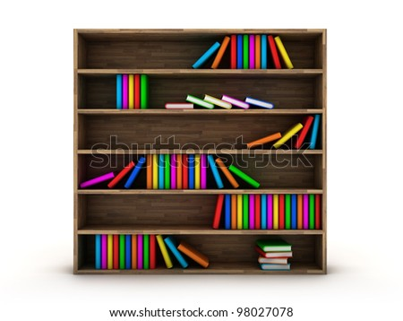 Illustration of a bookcase with a books different colour