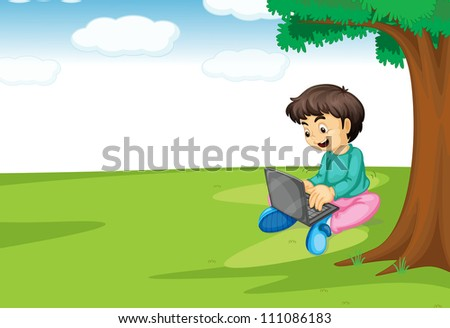 illustration of a boy and laptop under a tree - stock photo