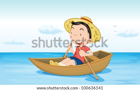 Illustration of a boy in a boat at beach - EPS VECTOR format also available in my portfolio.