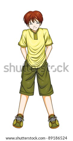 Illustration of a boy in anime style, tracing path included