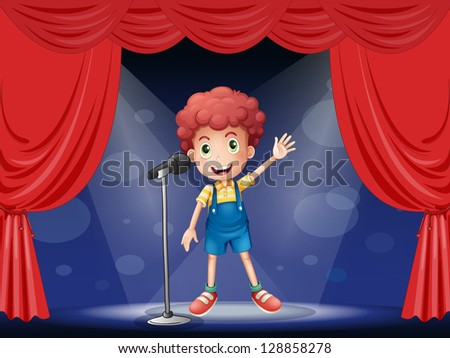 Illustration of a boy performing on the stage