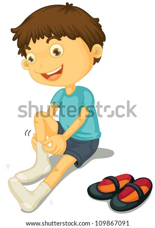 Illustration of a boy putting on shoes