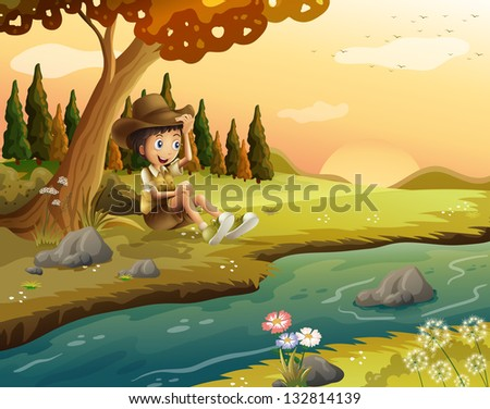 Illustration of a boy sitting at the riverbank