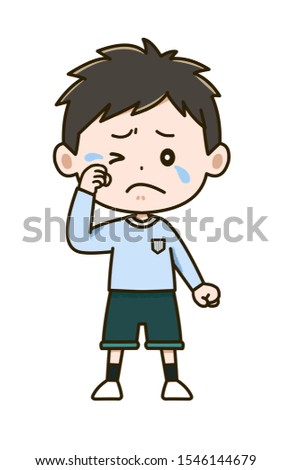 Illustration of a boy wiping tears