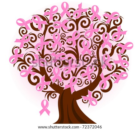illustration of a breast cancer pink ribbon tree