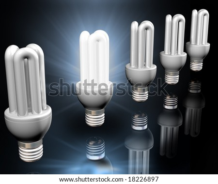 Illustration of a bright idea amongst energy saving light bulbs