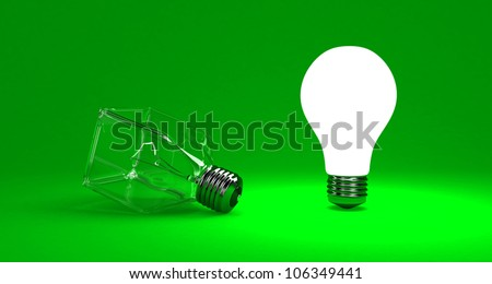 Illustration of a bright lamp against other switched off - stock photo