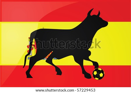illustration of a bull stepping on a soccer ball in front of the Spanish flag.