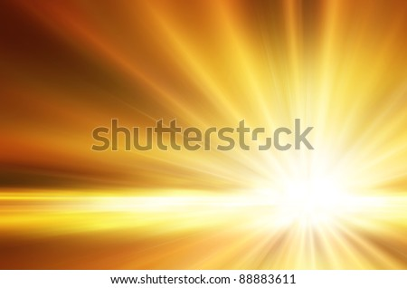 Illustration of a burning sun, or star and beautiful rays of light