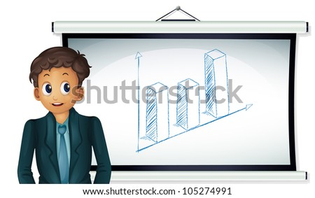 Illustration of a business man presenting a chart
