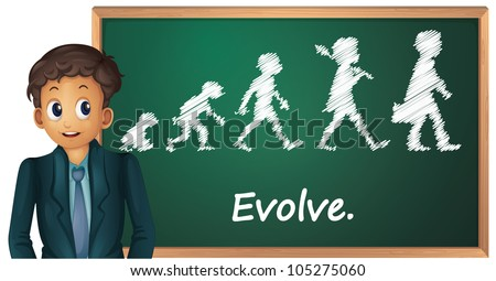 Illustration of a business man presenting evolution - stock photo