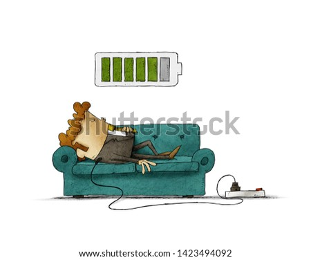 Illustration of a businessman on the sofa is connected to the power grid while recharging energy. Recharge concept. isolated