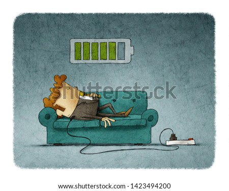 Illustration of a businessman on the sofa is connected to the power grid while recharging energy. Recharge concept.