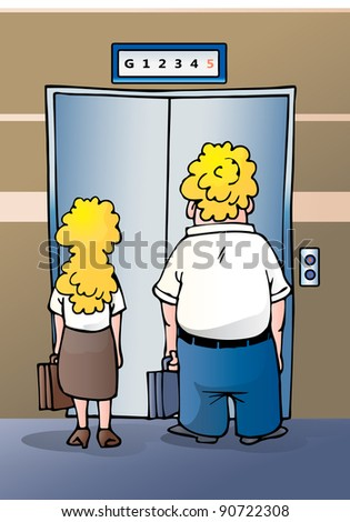 illustration of a businesswoman and businessman stand impatiently as they wait for an elevator at the office