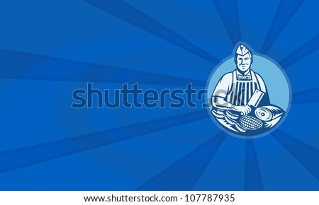 Illustration of a butcher with meat cleaver knife, sausages and meat cuts facing front set inside circle done in retro woodcut style.