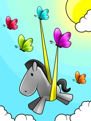 Illustration of a Butterflies set free a baby horse , flying in the sky