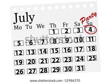 Illustration of a calendar with 4th July marked